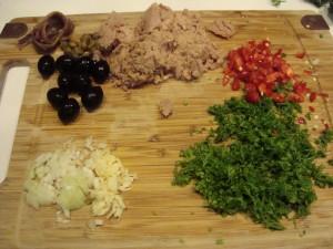 Zutaten für die Spaghetti Puttanesca