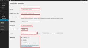 Wordpress Dahboard Einstellungen Allgemein