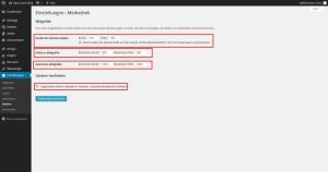 Wordpress Dahboard Einstellungen Medien