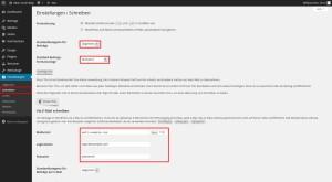 Wordpress Dahboard Einstellungen Schreiben 1