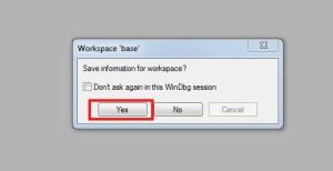 windbg open crashdump 2 save workspace