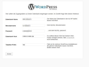wordpress installation datenbank einrichten