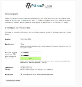 wordpress installation grundeinstellungen