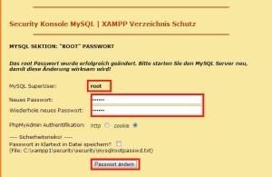 xaamp mysql passwort setzen