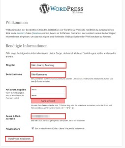 xaamp wordpress installation blogtitel etc