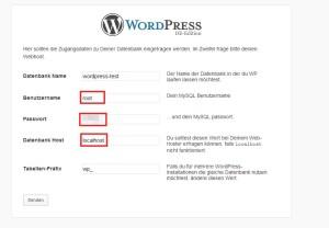 xaamp wordpress installieren datenbank verbindung einrichten