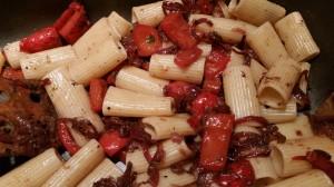 Rigatoni peperonata Pasta mit Paprika